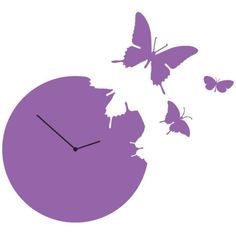 Diamantini & Domeniconi Butterfly Clock Violet (€195) ❤ liked on Polyvore featuring home, home decor, clocks, butterflies, filler, purple, purple clock, purple wall clock, butterfly wall clock and purple home accessories
