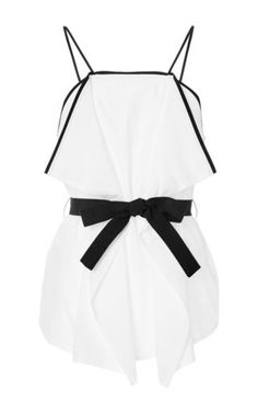 White cotton belted camisole by MSGM Now Available on Moda Operandi