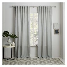 West Elm Belgian Linen Curtain + Blackout Panel (8,380 INR) ❤ liked on Polyvore featuring home, home decor, window treatments, curtains, grey, linen window curtains, gray curtains, tab curtains, grey linen curtains and window curtain panels