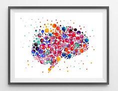 Human brain Abstract Anatomy Art Print brain cells poster Neurons and brain watercolor illustration anatomy science art wall art gift