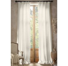 Basket Weave Linen Drapery Ivory color in Grand Room