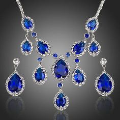 Sapphire Cubic Zirconia Water Drop Pendant Necklace and Earrings Set  #earrings #rings #necklace #women #jewelry #khaista #fashion #dresses #womensfashion