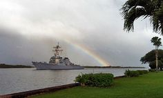 USS Russell departs with a #rainbow from Joint Base Pearl Harbor-Hickam