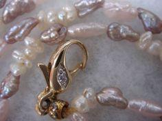 585 Gelbgold Schließe 2 Brillanten zwei reihige japan. Biwa Perlenkette Collier