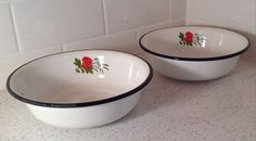 SO CUTE!   Enamelware bowls with red flowers   https://www.etsy.com/listing/228659732/vintage-enamelware-bowls-with-red