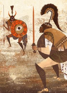 Provensen's Iliad. Hector and Achilles squaring off. Illustration by Alice and Martin Provensen