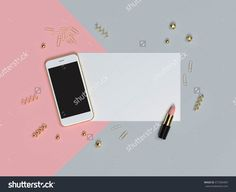 Phone on blank paper feminine flat lay mockup with lipstick 3D illustration