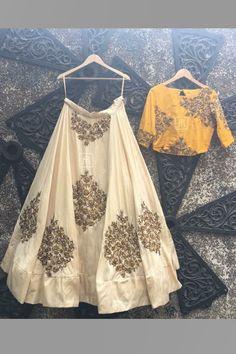 Off-White & Yellow Color Combination Designer Lehenga Choli Lehnga Dress, Lehenga Blouse, Bridal Lehenga Choli, Wedding Outfits For Groom, Indian Wedding Outfits, Indian Outfits, Indian Clothes, Indian Lehenga, Red Lehenga