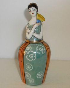 Very Rare Vintage ART Deco Noritake Lusterware Figural Flapper Perfume Bottle   eBay