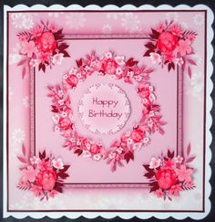 Posies of Love Floral Card - Pink by Linda Short