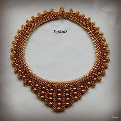 Gold Honig braun Perle Samen Perlen Collier Anweisung von Szikati