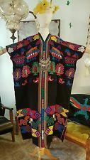 VTG 70s RARE HIPPIE BOHO EMBROIDERED WOVEN MEXICAN HUIPIL OAXACA CAFTAN DRESS