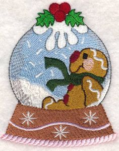 Threadsketches' set Sugar and Spice - Christmas embroidery designs, gingerbread man in snow globe