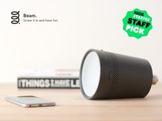 Beam: The smart projector that fits in any light socket. The smart projector that assists you in your daily activities, controlled with your smartphone or tablet. Screw it in and have fun!