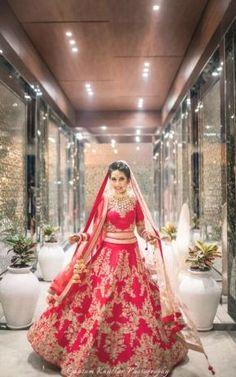 Red and gold bridal lehenga with zardozi work , twirling bride , red bridal lehenga - bridal lehenga Indian Bridal Outfits, Indian Bridal Lehenga, Indian Dresses, Bridal Dresses, Bridal Lehnga Red, Wedding Lehnga, Wedding Attire, Desi Wedding, Punjabi Wedding