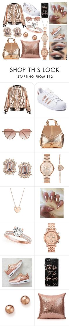 """Rose Gold Essentials"" by susanna-trad on Polyvore featuring Sans Souci, adidas, Cutler and Gross, Michael Kors, Ginette NY, FOSSIL, Casetify and Bloomingdale's"