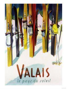 Vintage travel poster - Winter Sports - Switzerland  #vintage #travel #poster
