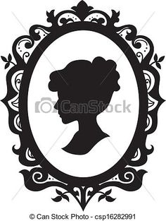 Black and White Illustration of a Cameo Featuring the Silhouette of a Woman - stock vector Bride Silhouette, Silhouette Cameo, Time Tattoos, Body Art Tattoos, Victorian Frame, Cool Paper Crafts, Black And White Illustration, Coloring Pages, Clip Art
