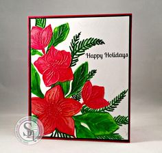 Designed by Brianna.  Sheena Festive-Embossing Folder- Christmas Rose Bouquet Sentiment- Bebunni- Snowy Hugs Spectrum Noir Sparkle Pens -Solar Red, Red Berry, Emerald Green, Holly Leaf, Crystal Clear. #spectrumnoir #sheenadouglass #christmas #crafting