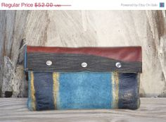 ON SALE Upcycled Leather Clutch  OOAK Leather by Liquidshiva, $46.80