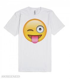 Stuck Out Tounge Winking Eye Emoji | Stuck Out Tounge Winking Eye Emoji. This lighthearted playful emoji makes a perfect graphic tee! Let the world know that you are just here to have fun with this comfy American Apparel tee! Also makes a great gift for fun loving friends. #Skreened