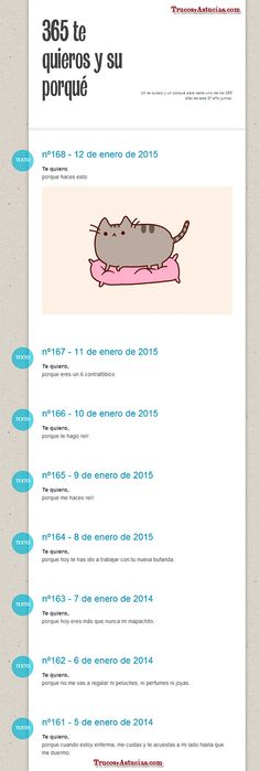 """Manualidades para regalar en San Valentín: """"365 te quieros"""" uno para cada día del año, en formato tumblr.   Sigue leyendo en: http://trucosyastucias.com/decorar-reciclando/manualidades-san-valentin ©TrucosyAstucias.com"""