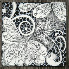 Zentangle Inspired piece using the William Morris technique of light over dark.