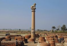 The Pillars of Ashoka (Ashok Stambh) are a series of columns dispersed throughout the northern Indian subcontinent, erected by the Mauryan king Ashoka during his reign in the century BC. India Architecture, Classical Architecture, Buddhist Practices, Stone Pillars, Amazing India, History Of India, Rare Images, Historical Images, Pilgrimage
