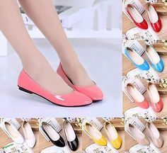 Hot Womens Lady Flat Ballet Casual Patent Leather Shoes Candy Colors Pumps  Shoes b058c515f417