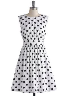 """Too Much Fun Dress in Black Dots, #ModCloth This dress would be so cute paired with a bright colored jacket/wrap.  It just screams """"FUN""""!"""