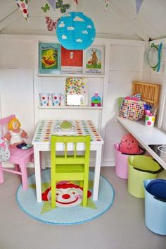 white paint, flag banners and decor for play house legehus Playhouse Decor, Playhouse Interior, Build A Playhouse, Wooden Playhouse, Playhouse Ideas, Girls Playhouse, Kids Cubby Houses, Kids Cubbies, Play Houses