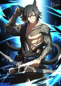 Image result for miqo te male fanart Fantasy Character Design, Character Design Inspiration, Character Art, Anime Wolf, Anime Neko, Dnd Characters, Fantasy Characters, Overwatch, Neko Boy