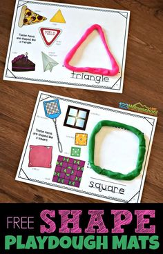 FREE Shape Playdough Mats are a fun way for hands on learning about shapes for kids. Each shape printable has real life shapes, space to build a shape out of playdough, and trace the shape name. for kindergarten Preschool Learning Activities, Preschool Math, Toddler Learning, Preschool Shapes, Toddler Preschool, Shapes For Kindergarten, Hands On Learning Kindergarten, Maths, 2d Shapes Activities