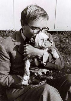 Truman Capote and his dog, Italy (1953), photo by Robert Capa.