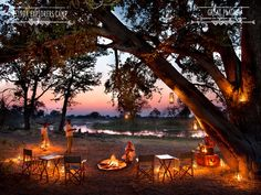 Sundowners to end an adventurous day at Selinda Explorers Camp
