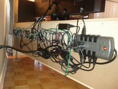 Hide your cables and keep them off the floor for easy cleaning. Might have to try.