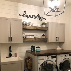37 Beautiful Small Laundry Room Makeover Ideas - Its one of the most used rooms in the house but it never gets a makeover. What room is it? The laundry room. Almost every home has a laundry room and . Rustic Laundry Rooms, Laundry Room Signs, Laundry Room Organization, Laundry Room Shelves, Laundry Room With Sink, Laundry Room Wall Decor, Farmhouse Decor Bathroom, Industrial Farmhouse Decor, Laundry Cabinets