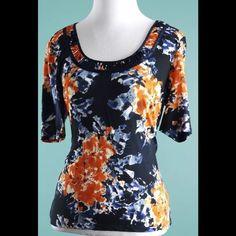 ELLEN TRACY Orange Blue Silk Blend Top Size M ELLEN TRACY Orange Blue Silk Blend Stretch Top Size M Ellen Tracy Tops