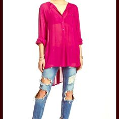 Free People NWT NWT AND SOLD OUT EVERYWHERE! Gorgeous Boyfriend Button Down Tunic Top  Hi Lo Style  Oversized Fit  Free People Tops Tunics
