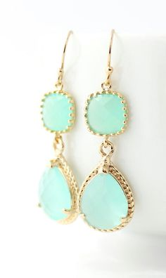 Mint Green Earrings - These would have been great with my outfit today (to match my mint green scarf).