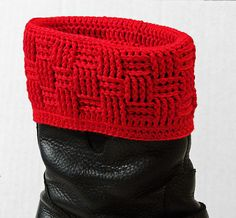Ravelry: Basketweave Boot Covers crochet pattern by MyntKat (not yet available)