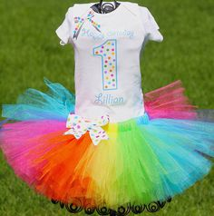 Rainbow Tutu Outfit Rainbow Birthday Outfit by TwistinTwirlinTutus, $49.99