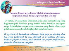 Nitai Gaura Krishna Center Batam Kepulauan Riau Indonesia: Sri-Aparadha-Shodana Bait 1