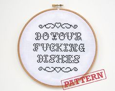 Do Your Dishes Cross Stitch Pattern on Etsy, $4.00