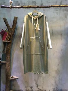 Youthful Contrast Color Patch Pocket #Hooded #Dress #Korean Dress