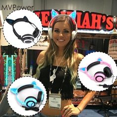 MVPower Cat Ears Headset Folding led Glowing flash light in dark drop gaming Headphones For Macaroons PC Laptop phone earphone Cheap Headphones, Cute Headphones, Gaming Headphones, Gaming Headset, Wireless Headset, Cat Ear Headset, Samsung, Iphone, Cat Ears