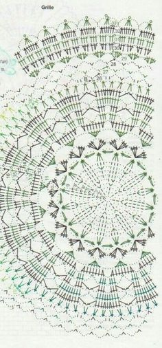 This Pin was discovered by Vij Filet Crochet, Mandala Au Crochet, Crochet Doily Diagram, Crochet Square Patterns, Crochet Circles, Crochet Stitches Patterns, Crochet Round, Crochet Chart, Crochet Home