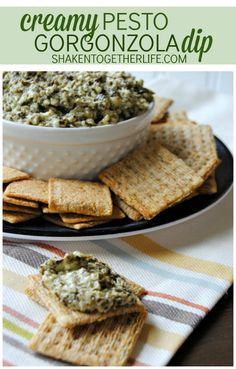 Creamy pesto Gorgonzola dip - just 3 ingredients!!