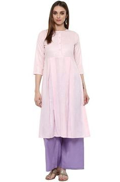 Light Pink Plain Cotton Anarkali Kurta #Cottonkurtis #Cottonkurta #cottonprintedkurtis now available at ladyindia.com