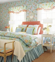 Love the small check bedskirt with the floral comforter.